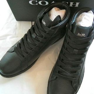 コーチ(COACH)の正規品保証 コーチ ハイ トップ レザースニーカー黒/新品、箱付き(ブーツ)