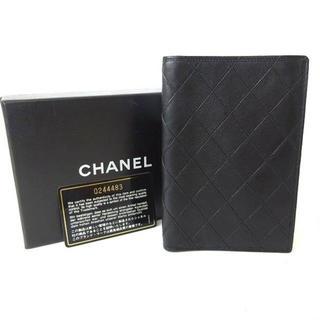 シャネル 財布 二つ折札入れ レザー ブラック 黒 クリアポケット×2(コインケース)