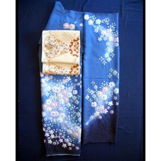 新品  国産絞り振袖 花柄 ブルー 成人式 振袖 正絹(振袖)