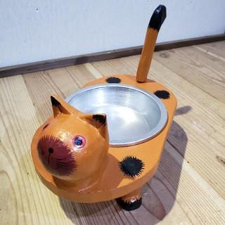 可愛い茶猫さんの餌入れ 小物入れ 鍵入れ アクセサリー入れ エサ入れ 猫餌皿(猫)