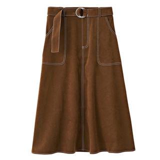 シマムラ(しまむら)の新品 ステッチ フレアスカート スエード調 しまむら vivi 2pink(ロングスカート)