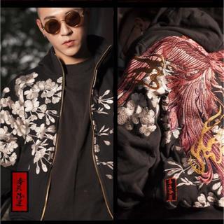 【取り寄せ】奉天承運◆M~2L◆本刺繍◆桜+鳳凰刺繍◆フード付刺繍パーカー金色(パーカー)