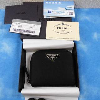 プラダ(PRADA)の☆正規品 プラダ コインケース ラウンド ナイロン×レザー ブラック 美品(コインケース)