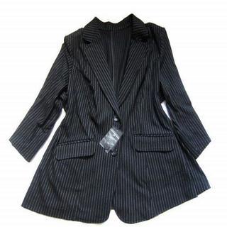 38ABR 新品 7L 運動出来る♪7分袖ジャケット 大きいサイズ 黒スト(テーラードジャケット)