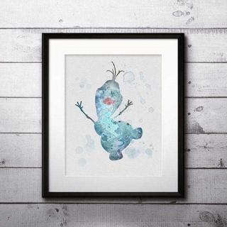 ディズニー(Disney)のオラフ(アナ雪・アナと雪の女王)アートポスター【額縁つき・送料無料!】(ポスター)