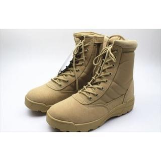 ミリタリーブーツ SWAT仕様 作業靴  サイドジッパー ☆TAN/27cm(ブーツ)
