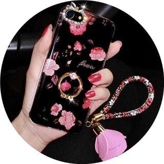 MC131 花柄バンカーリング付iphone8/7PLUS用ケース総柄1(タイツ/ストッキング)