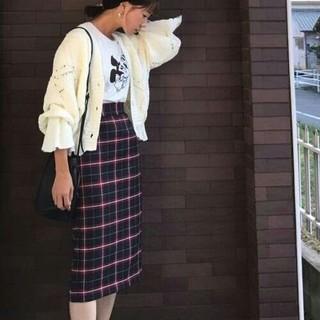 ジーユー(GU)の新品 GU ジーユー ナロー チェック ミディ スカート ネイビー  ユニクロ(ひざ丈スカート)