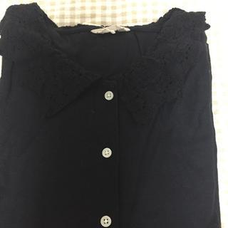 サマンサモスモス(SM2)の新品 衿レースブラウス ブラック(シャツ/ブラウス(長袖/七分))