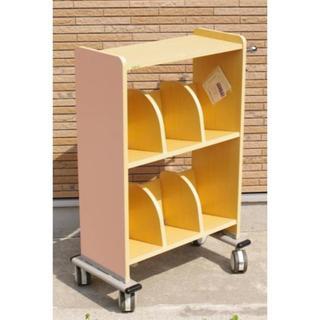アズワン 木製カルテワゴン ピンク WOOD-P40(オフィス収納)