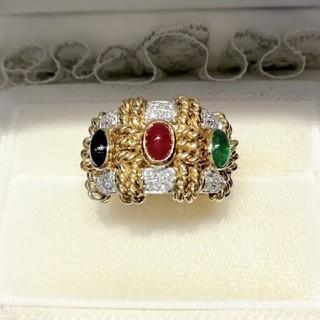 K18 ♦️ダイヤ♦️ ルビー サファイア エメラルド 宝石リング(リング(指輪))