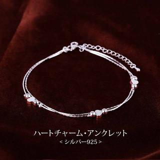 【新品】ハートチャーム・アンクレット (シルバー925)(アンクレット)