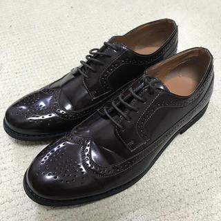 ジーユー(GU)のGU ジーユー メンズ ダービーシューズ 革靴 風 ダークブラウン 美品 送料無(ドレス/ビジネス)