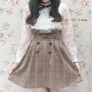 ♡ブラウンピンクの可愛いチェックスカート♡清楚なガーリーコーデに♡
