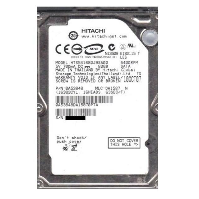 Hitachi HTS541680J9SA00 80GB Hard Drive