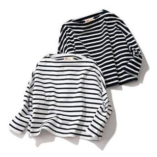 ムジルシリョウヒン(MUJI (無印良品))の新品未使用タグ付き 無印良品 クロップショルダーTシャツ ボーダー カットソー(Tシャツ(長袖/七分))