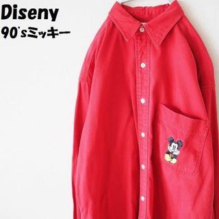 ディズニー(Disney)のpoohさん専用ディズニー 長袖シャツミッキーマウス刺繍 レッド サイズM(シャツ)