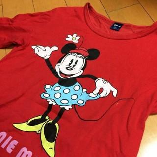 ディズニー(Disney)のミニーレッドコットンカットソー(カットソー(長袖/七分))