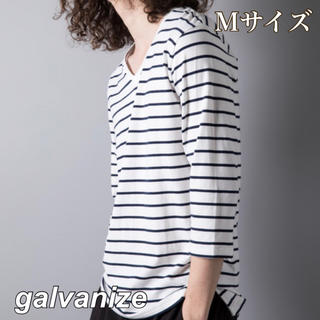 ガルヴァナイズ(Galvanize)の新品・タグ付【galvanize】Vネックボーダー7分Tシャツ ホワイト M(Tシャツ/カットソー(七分/長袖))