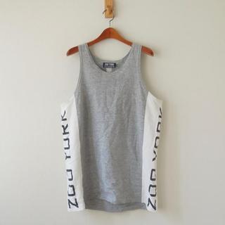ズーヨーク(ZOO YORK)のZOO YORK タンクトップ サイドロゴ USA製 グレー×白(mw-284)(Tシャツ/カットソー(半袖/袖なし))