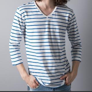ガルヴァナイズ(Galvanize)の【galvanize】Vネックボーダー7分Tシャツ(Tシャツ/カットソー(七分/長袖))