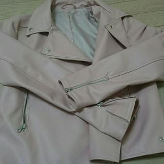 ジーユー(GU)のGU ピンクライダースジャケット(ライダースジャケット)