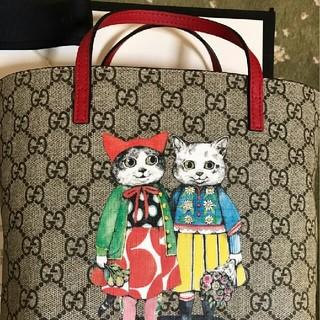 グッチ(Gucci)のヒグチユウコ × GUCCIコラボ 限定キャンバストート バッグ 猫ねこ レッド(トートバッグ)