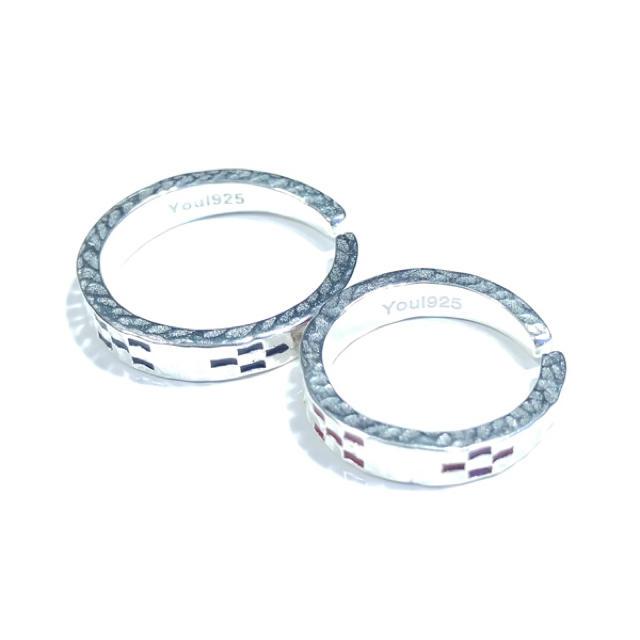 ★沖縄 ミンサーリング silver925 フリーサイズ レッド&ブラック★ レディースのアクセサリー(リング(指輪))の商品写真