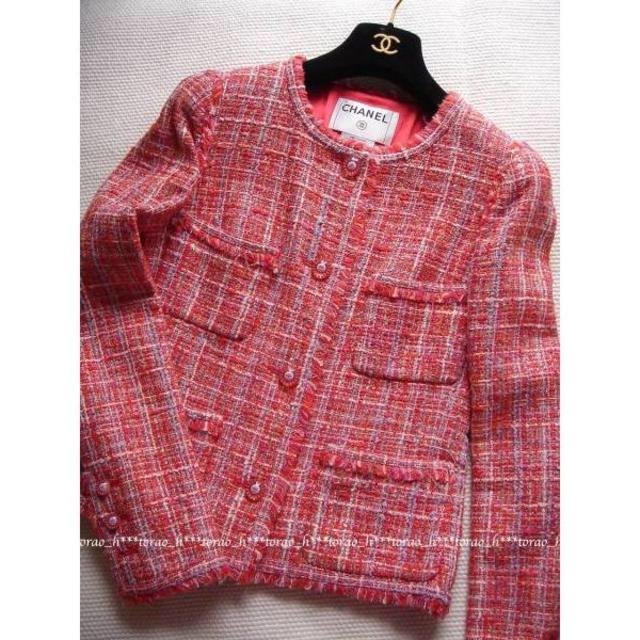 CHANEL(シャネル)の【パリ本店購入】CHANEL シャネル 赤 ツイード ジャケット 36 レディースのジャケット/アウター(ノーカラージャケット)の商品写真