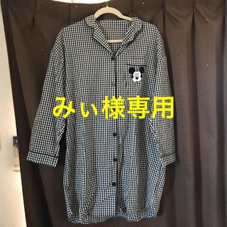 ジーユー(GU)のGUミッキーチェックシャツワンピ(パジャマ)(パジャマ)