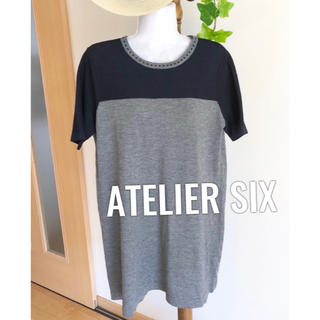 アトリエシックス(ATELIER SIX)の☘ ATELIER SIX ☘ レディース  ワンピース ブラック グレー(ひざ丈ワンピース)