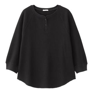 ジーユー(GU)の新品未使用【GU ジーユー】ワッフルヘンリーネックT  ブラック M(Tシャツ(長袖/七分))