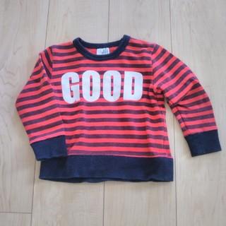 ジーンズベー(jeans-b)の長袖 トレーナー トップス サイズ90 秋冬用 やや厚手 首周り細め ボーダー (Tシャツ/カットソー)