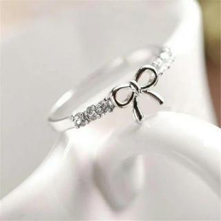 シンプル シルバーカラー リボンリング(リング(指輪))