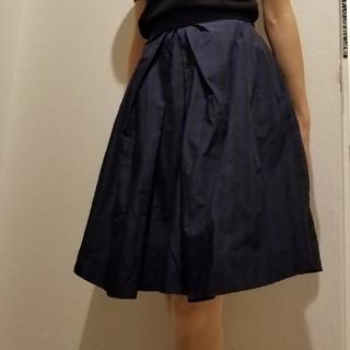 トゥエルブアジェンダ(12Twelve Agenda)のtwelveアジェンダ ハリ感のあるスカート ブルーチェック(ひざ丈スカート)