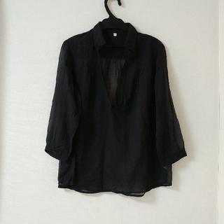ムジルシリョウヒン(MUJI (無印良品))の無印良品 コットン スキッパーシャツ ブラック(シャツ/ブラウス(長袖/七分))