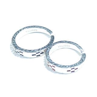 ★沖縄 ミンサーリング silver925 フリーサイズ レッド&ブラック★(リング(指輪))