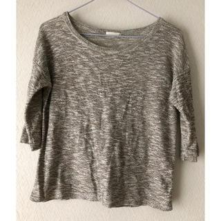 ジーユー(GU)のGU メランジTシャツ 5部丈 ゴールド S(Tシャツ(半袖/袖なし))
