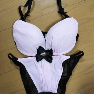 エメフィール(aimer feel)のエメフィール ピンク×ブラック ストライプ(ブラ&ショーツセット)