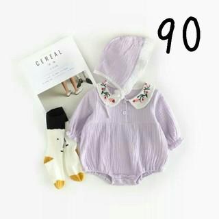 【新品】(90)コットンリネン風ロンパースセット(ワンピース)