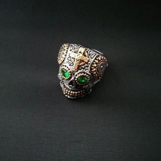 スカル ドクロ 骸骨 グリーンアイ リング 指輪 19号(リング(指輪))