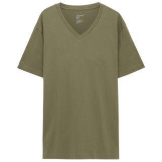 ムジルシリョウヒン(MUJI (無印良品))のMUJI無印良品のオーガニックコットンVネックTシャツサイズLスモーキーグリーン(Tシャツ(半袖/袖なし))