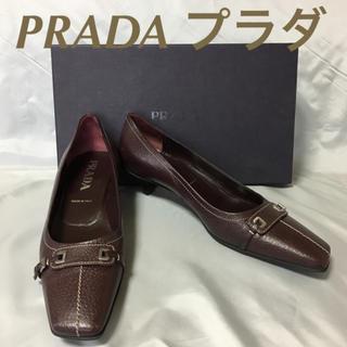 プラダ(PRADA)の美品プラダ レザー パンプス38 パープル(ハイヒール/パンプス)