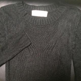 アゴストショップ(AGOSTO SHOP)のAGOSTO 黒 ニット セーター チュニック 透かし模様あり(ニット/セーター)