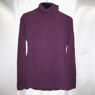 ムトウ 長袖 タートルネック カットソー トップス パープル 紫 L (Tシャツ(長袖/七分))