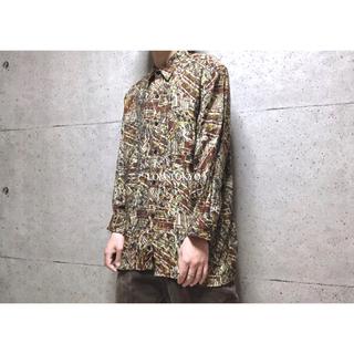 [used]brown art design shirt.(シャツ)