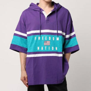 スピンズ フード付きラガーシャツ パープル  L