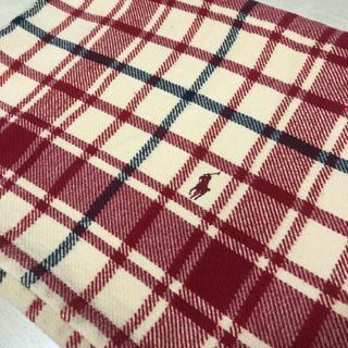 ラルフローレン(Ralph Lauren)のralphlaurenチェック膝掛け毛布ラルフバーバリーアルマーニ赤ブランケット(毛布)
