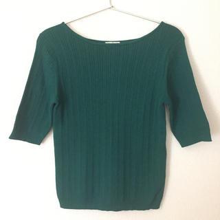 ジーユー(GU)のGU ワイドリブボートネックセーター(5分袖)(ニット/セーター)