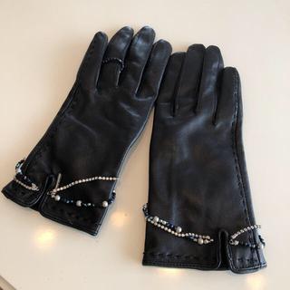 ゴーサンゴーイチプーラファム(5351 POUR LES FEMMES)のビジュー付き皮手袋(手袋)